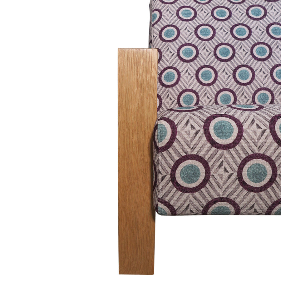 Mogambo Armchair - Sezio 'Plum'- Leg and fabric detail