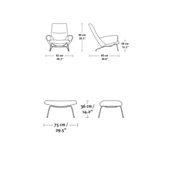 Saarinen Armchair + Ottoman - Measurements