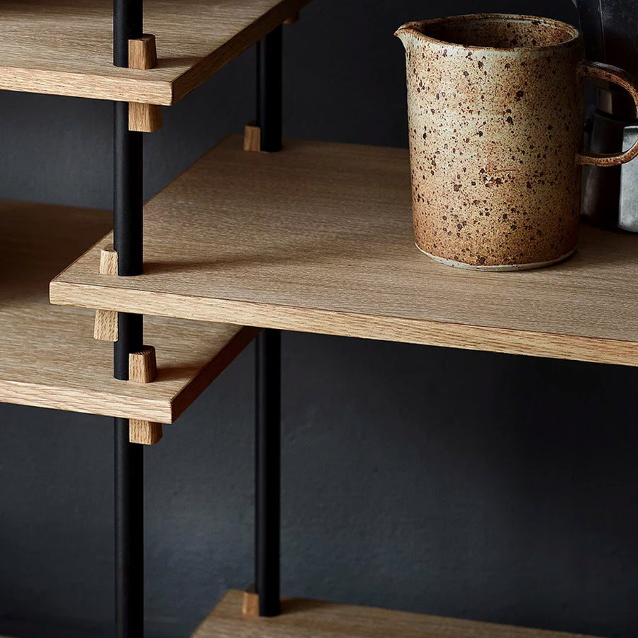 moebe shelving oak tall system detail