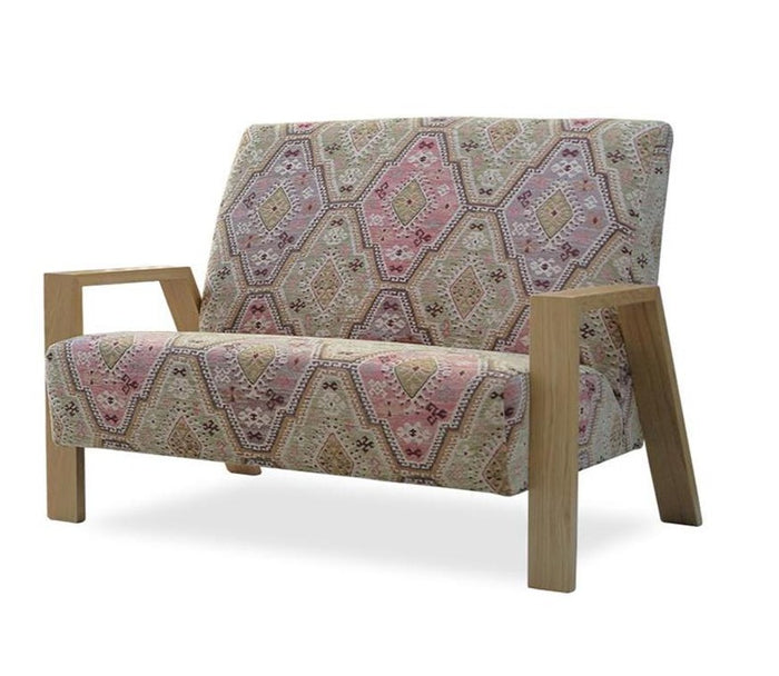 Mogambo 2 seater sofa pattern fabric wooden arms