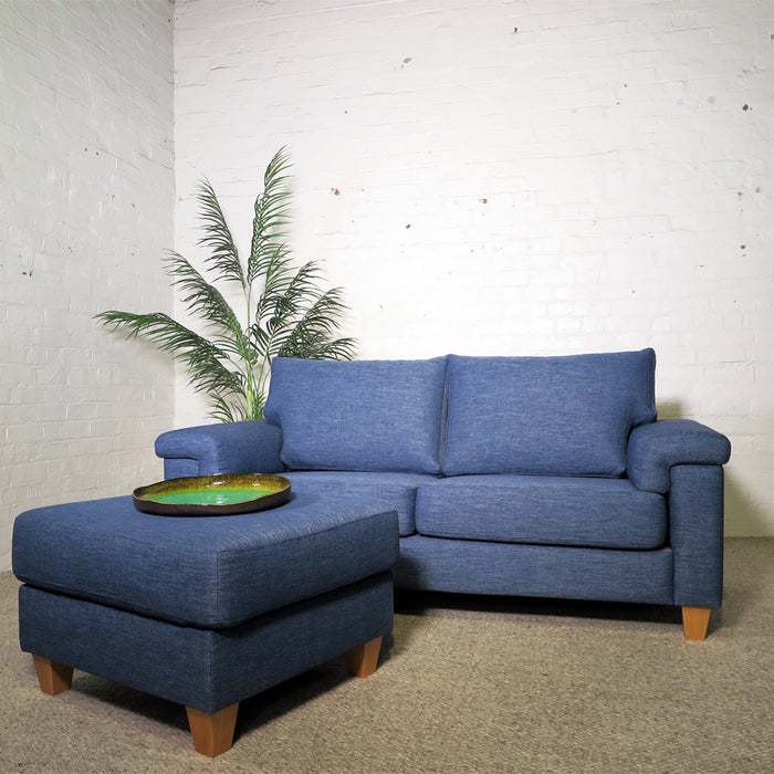 Palm Springs 2.5 Seat Sofa + Ottoman Front Denim Blue