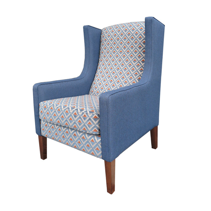 Partridge Armchair grey blue and geometric fabric