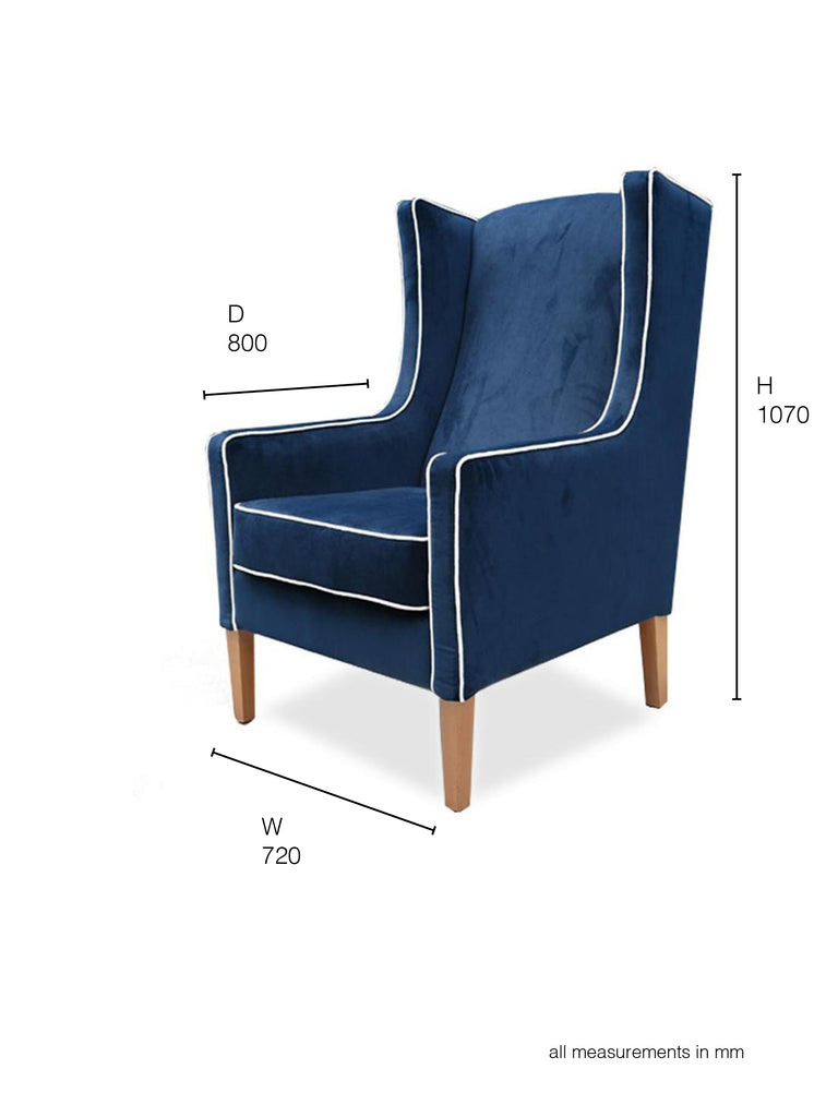 Partridge Armchair in  blue velvet with white piping dimensions
