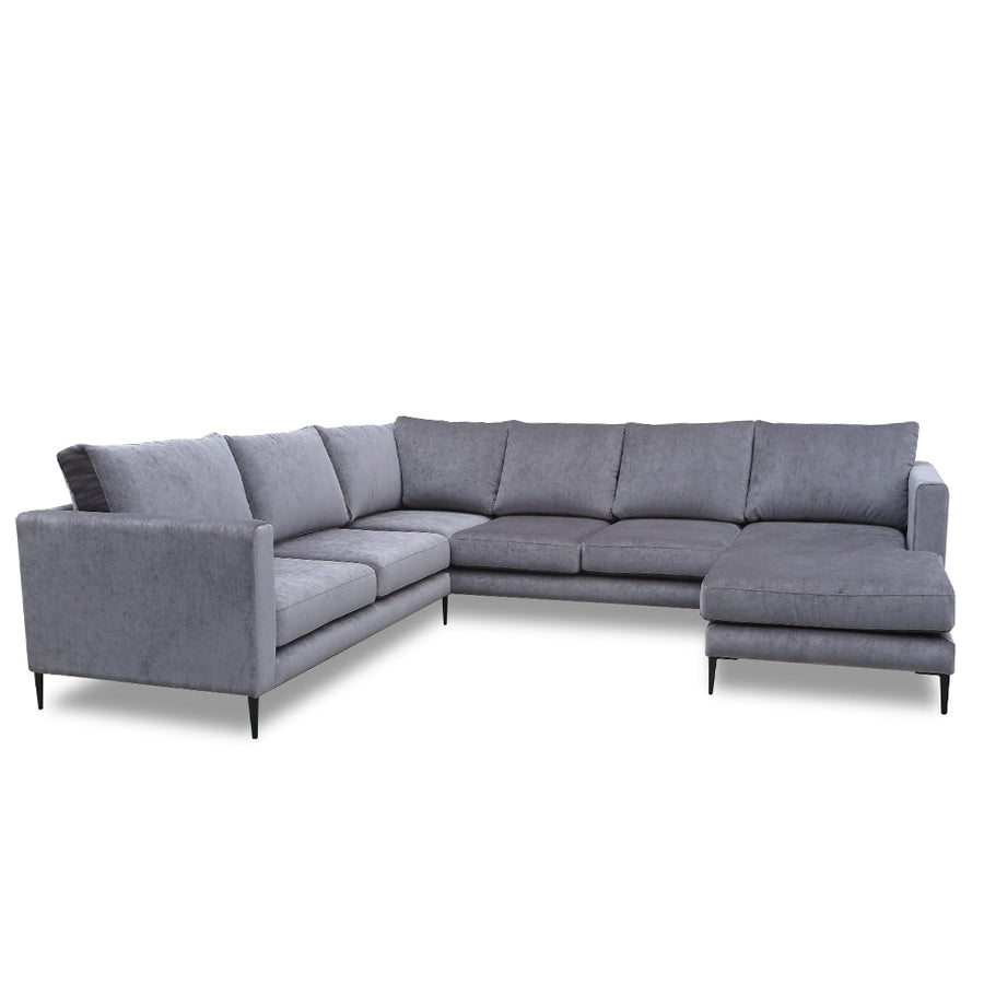 Monterey 3 piece corner sofa in grey velvet with metal legs