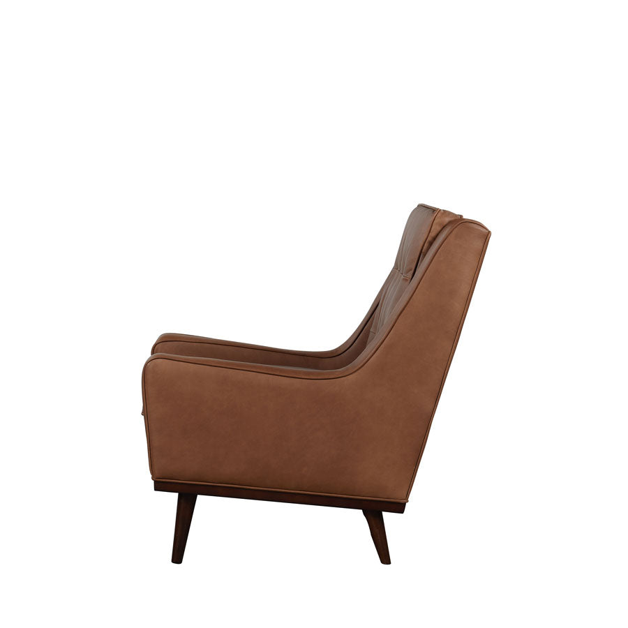 Cigar Armchair - Brown Leather-side