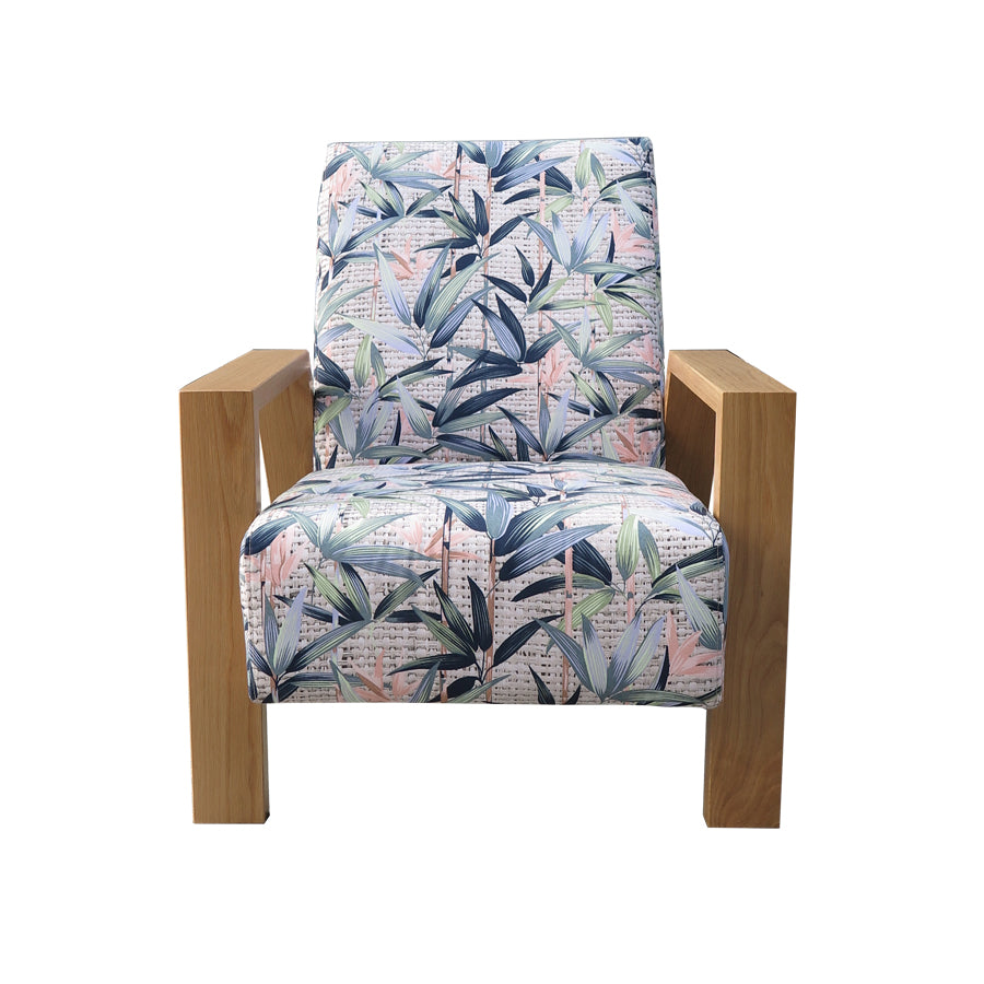 Mogambo Armchair pastel floral fabric and oak arms
