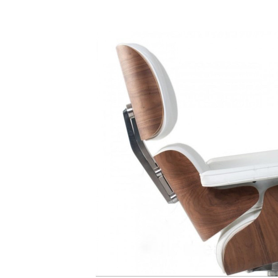 Eames Lounge Chair + Ottoman - White Leather - Walnut Finish