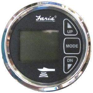Digital Depth Sounder With Air & Water Temperature - Ches Ss Blk Depth-Air&H2O Temp-Faria-Next Day Boat Parts