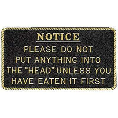 Fun Plaque - Please Do Not Put Anything In-Bernard Engraving-Next Day Boat Parts
