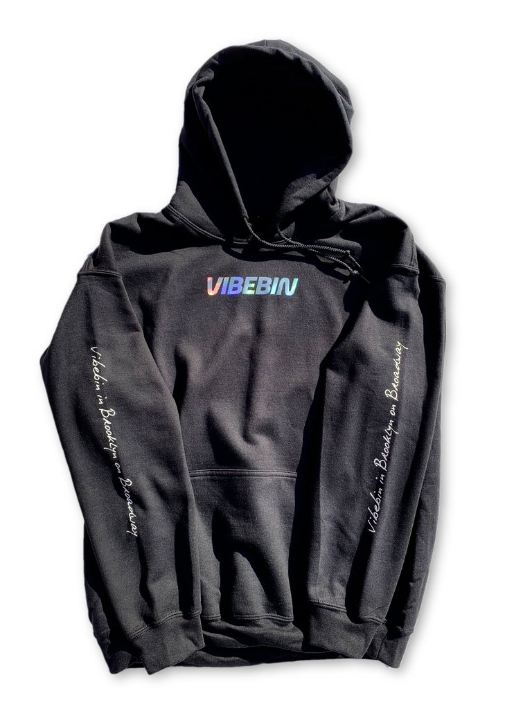 """Vibebin in Brooklyn on Broadway"" Iridescent Logo Hoodie"