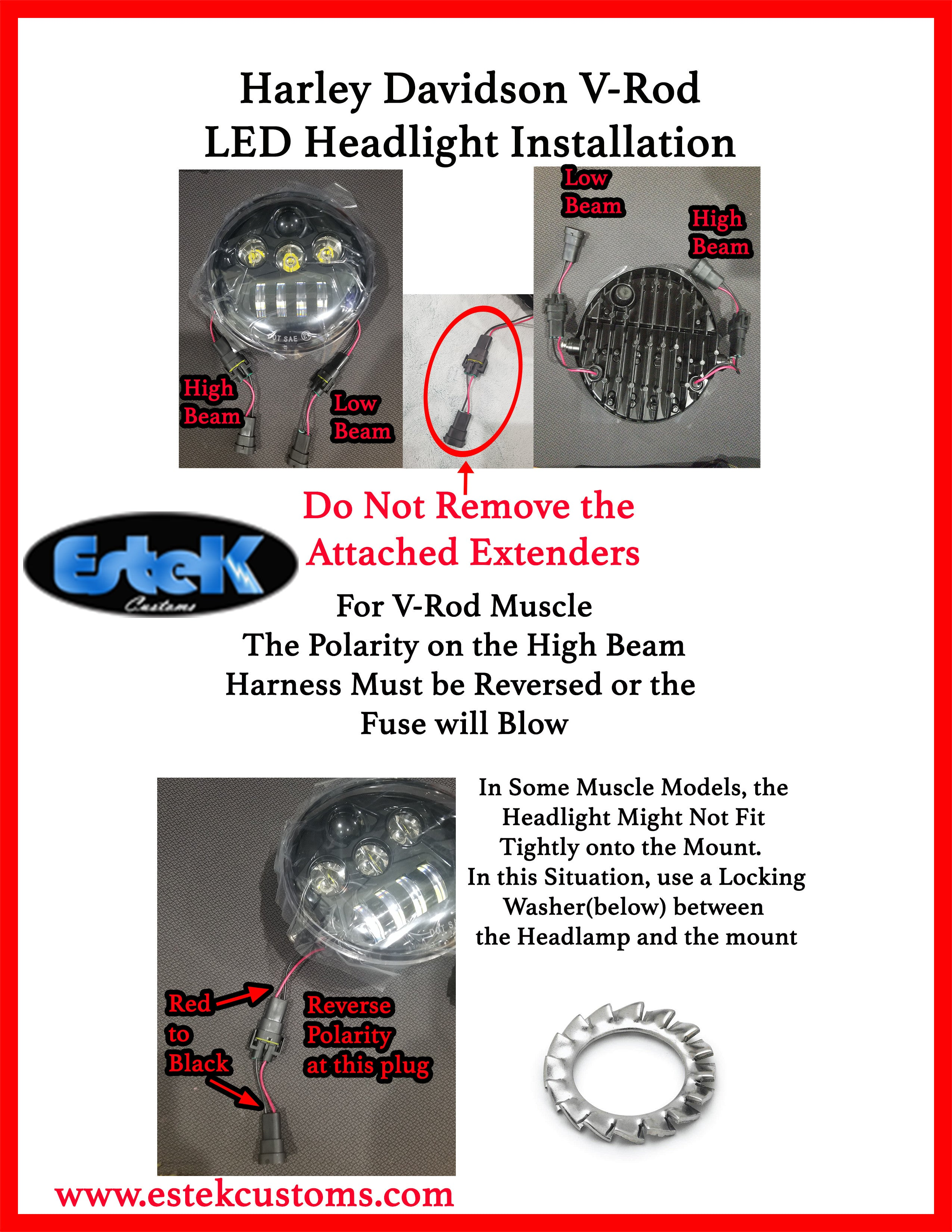 Hd V Rod Halo Angel Eye Drl Oval Led Daymaker Headlight 6000k Wire Harness Plugs Installation Instructions Click Here