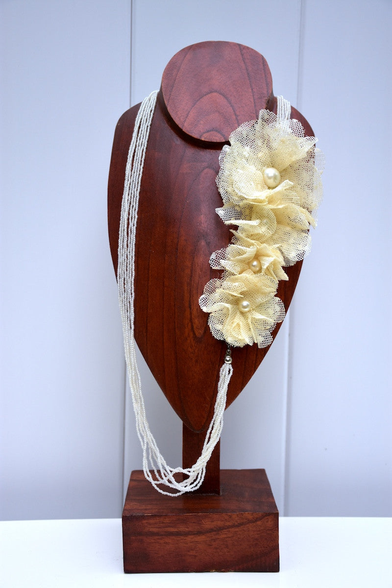 NECKLACE - Cream Chiffon Flower