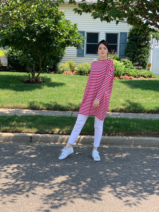 Cotton  red striped  tunic
