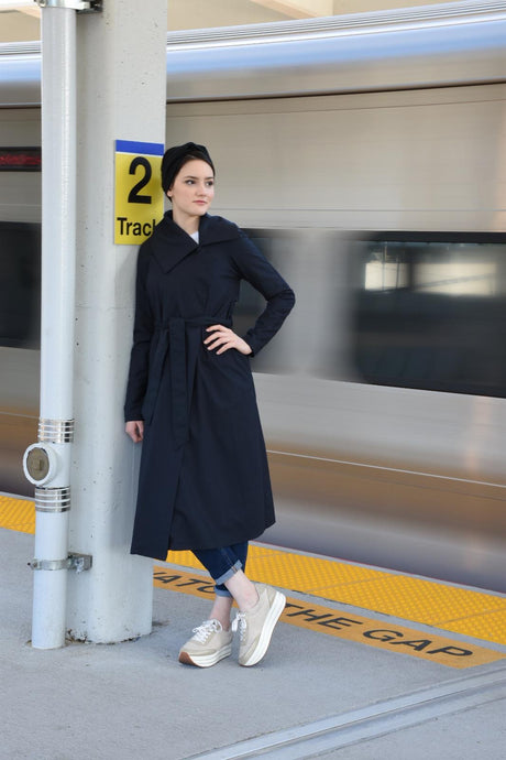SrLamode - Navy Blue Trench Coat