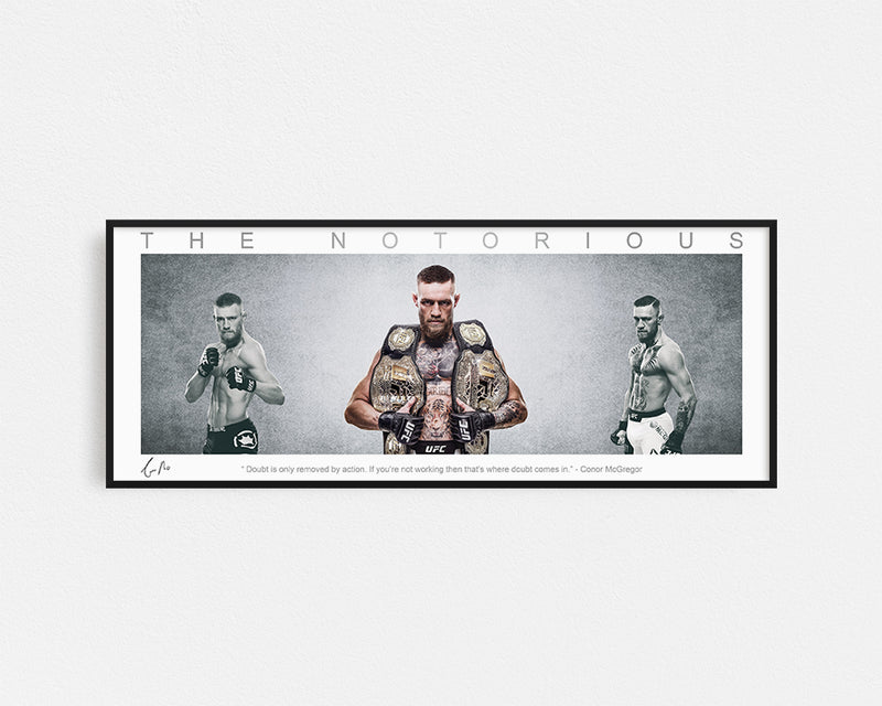 CONOR MCGREGOR PANORAMIC COLLAGE PRINT SIGNED FRAMED WINGS