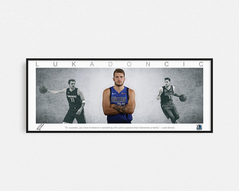 LUKA DONCIC PANORAMIC COLLAGE PRINT SIGNED FRAMED WINGS