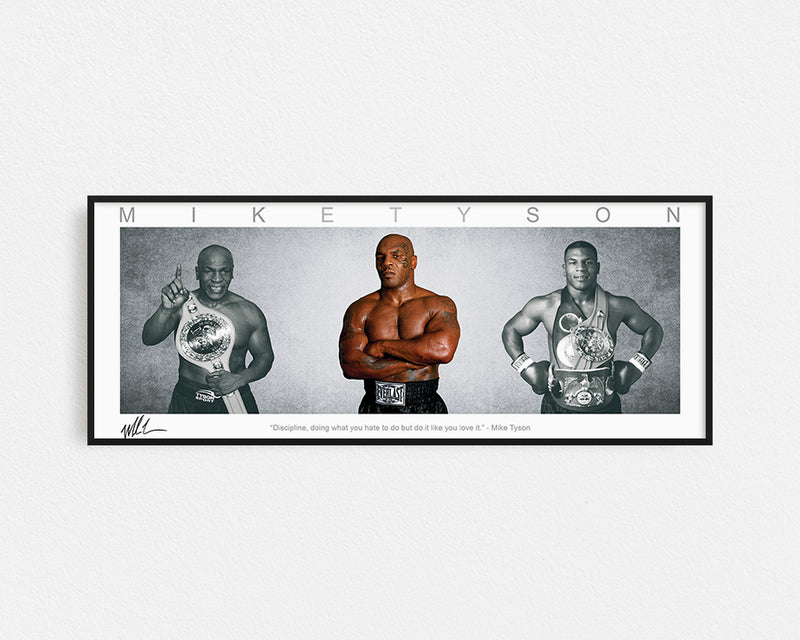 MIKE TYSON PANORAMIC COLLAGE PRINT SIGNED FRAMED WINGS