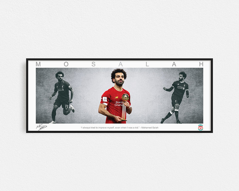 MOHAMED SALAH PANORAMIC COLLAGE PRINT SIGNED FRAMED WINGS