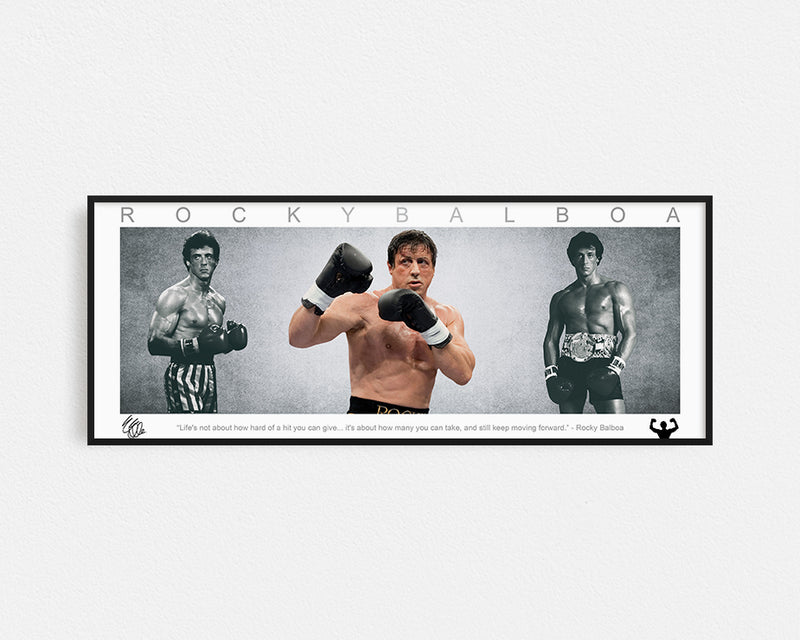 ROCKY BALBOA PANORAMIC COLLAGE PRINT SIGNED FRAMED WINGS