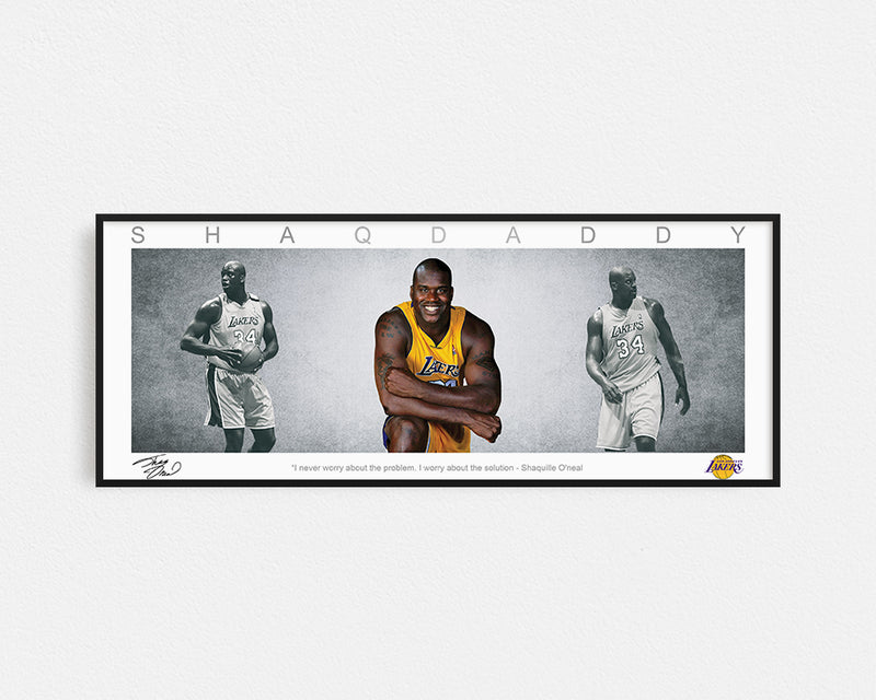 SHAQUILLE O_NEAL PANORAMIC COLLAGE PRINT SIGNED FRAMED WINGS