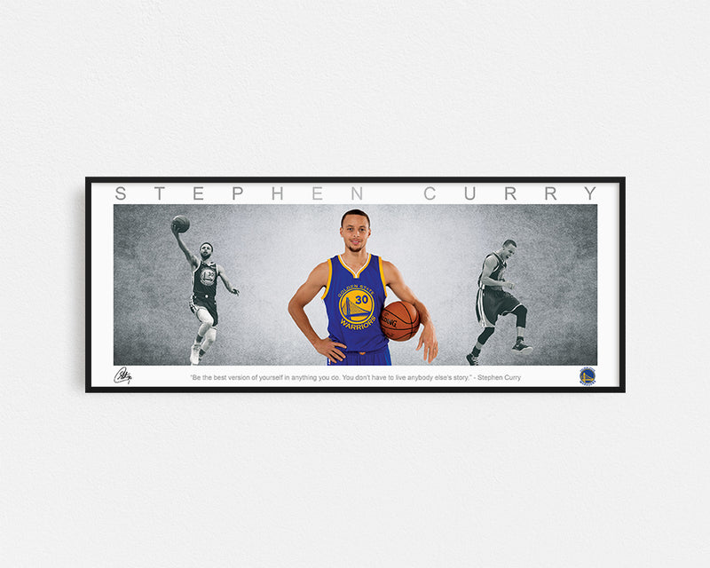STEPH CURRY PANORAMIC COLLAGE PRINT SIGNED FRAMED WINGS