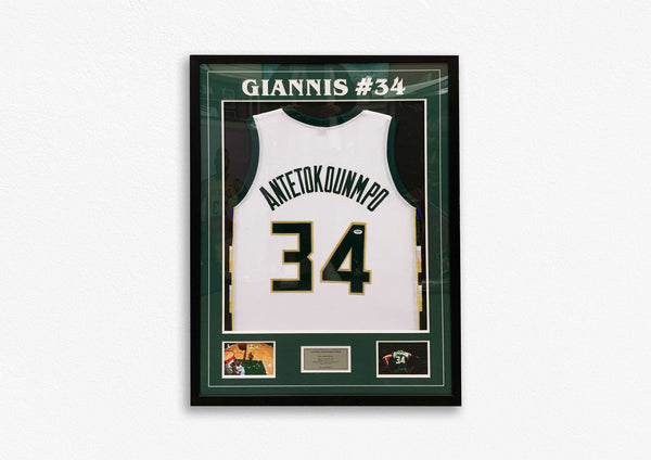 Giannis Antetokounmpo Hand Signed Jersey - Framed