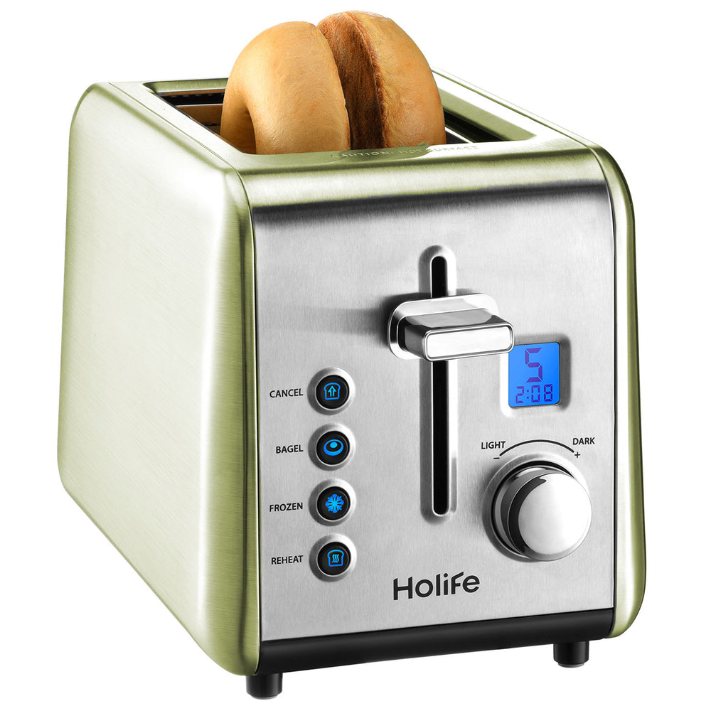 Toaster 2 Slice, Holife [Upgraded LCD Countdown]Bagel Toaster Compact Brushed Stainless Steel Toaster (6 Shade Selector, Bagel/Defrost/Reheat/Cancel, High-lift/Extra Wide Slot/Yellow)