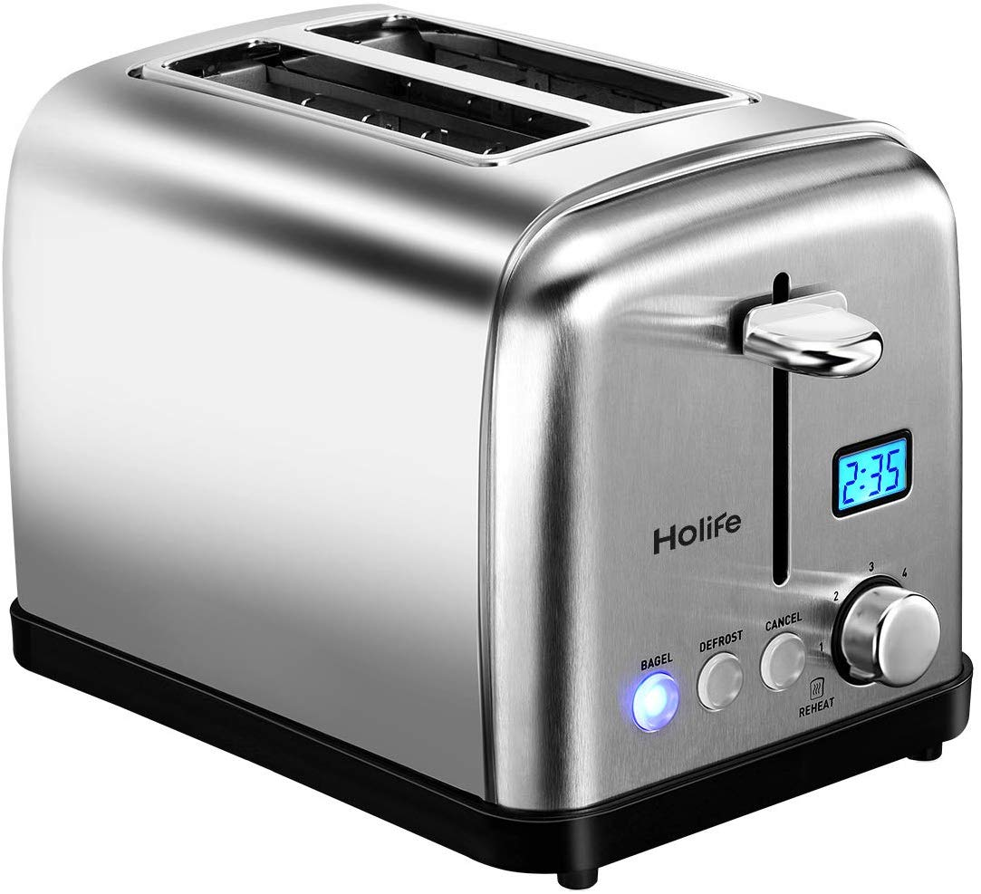 "Toaster, HoLife 2 Slice Prime Rated Toasters [LCD Dispaly] Stainless Steel Bagel Toaster (6 Bread Settings, Bagel/Defrost/Reheat Function, 1.5"" Wide Slots, Removable Crumb Tray, 900W, Silver)"
