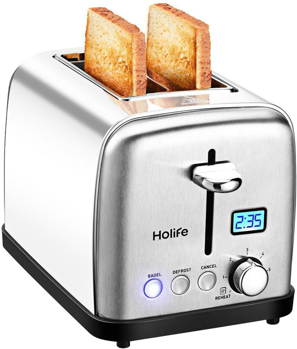 Holife Upgraded Toaster 2 Slice, Upgraded Slot Stainless Steel Toaster, Bagel Toaster with Digital Display, 6 Shade Settings, Bagel/Defrost/Cancel/Reheat Multifunction, 900W