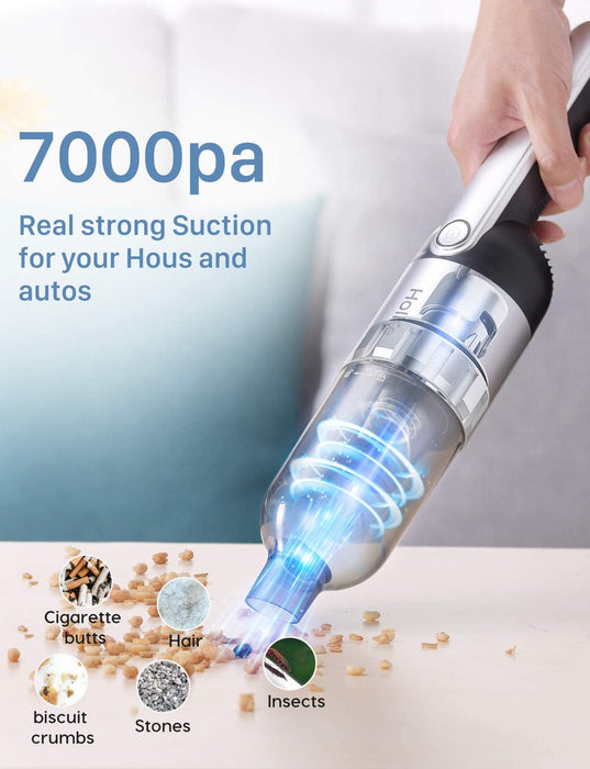 7Kpa strong cyclonic suction, which effortlessly cleans the dust, crumbs, hair and pet hair in your home