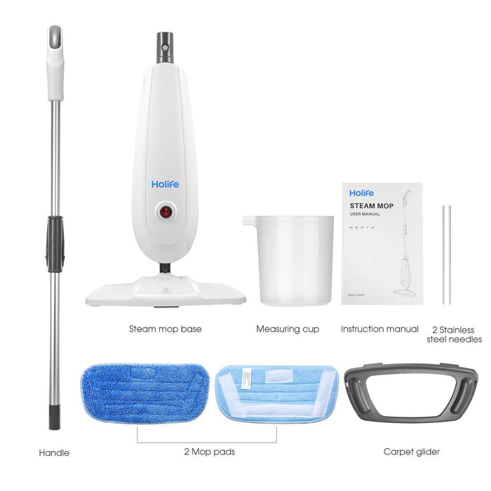 Package contents of Holife HM331AW Steam Mop Floor