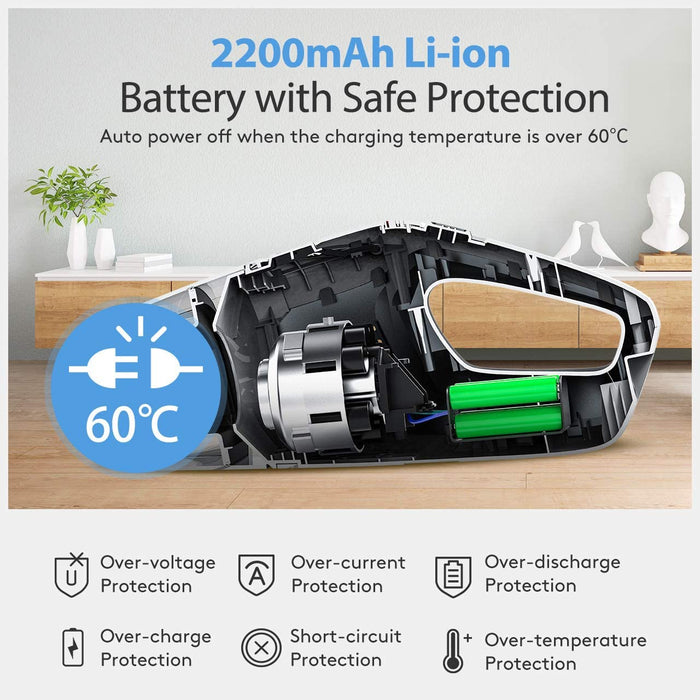 Holife Handheld Vacuum Cordless, 8000Pa 14.8V Powerful Suction Portable Hand Car Vac, Vacuum Cleaner 2200mAh Rechargeable Battery(Lightweight, Wet&Dry, 35min Working, 3h Charging) for Car and Home