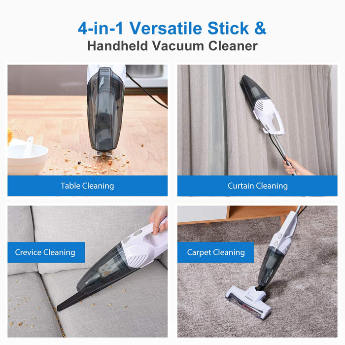 Holife Stick Vacuum, 2 in 1 Handheld Vacuum Cleaner with 15KPA Powerful Suction, Ultra Lightweight Bagless Corded Handheld Vac, Rolling Brush, HEPA Filtration