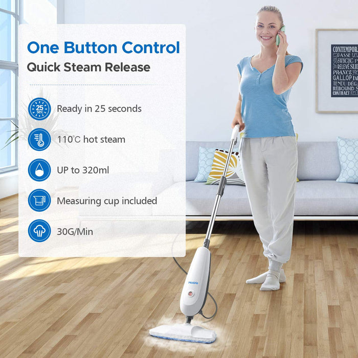Quick steam release of Holife HM331AW Steam Mop Floor