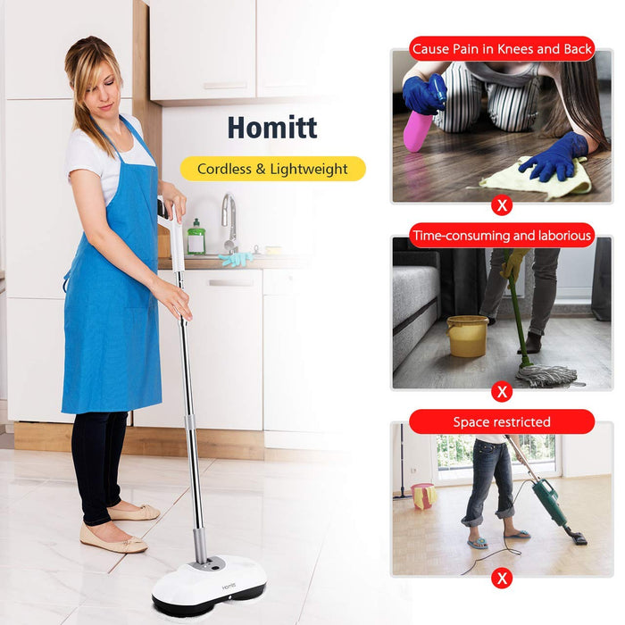 Homitt HM389AW Electric Spin Mop Floor Scrubber - HoLife