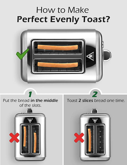 Holife Toaster 2 Slice, Extra Wide Slot, Countdown Digital Display, Stainless Steel Toaster, 6 Shade Settings of 2 Slices Toaster, Bagel/Defrost/Cancel/Reheat Function, Removable Tray, Sliver, 900W - HoLife