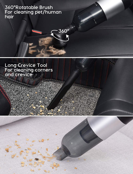 The 360° rotatable brush head is ideal for cleaning carpets, sofa, keyboard. The long crevice tool is for cleaning hard-to-reach corners and gaps.