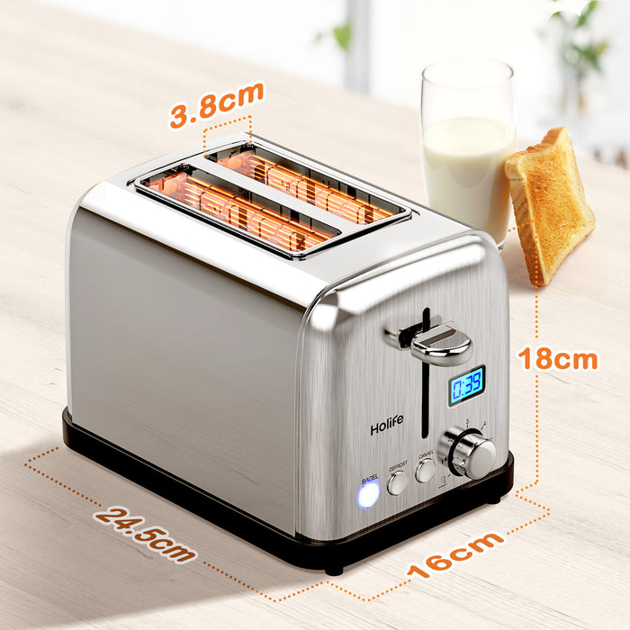 HOLIFE Toaster with Digital Countdown Timer, 900W, 2 Slice, Retractable Cord, Stainless Steel, Bagel/Defrost/Reheat/Cancel Function, Toasters 2 slice with 6 Adjustable Browning Dials - HoLife