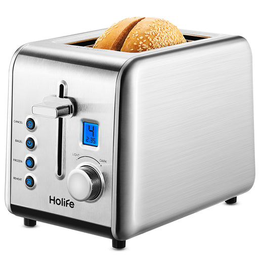 HOLIFE Toasters 2 Slice, Stainless Steel Toaster, Upgraded LCD Digital Countdown Timer, High-Lift, 6 Dial Settings, Bagel, Defrost, Reheat, Cancel Function, 850W, 120V, Silver