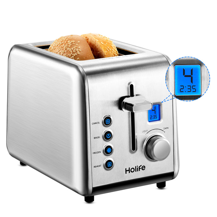 HOLIFE Toasters 2 Slice, Stainless Steel Toaster, Upgraded LCD Digital Countdown Timer, High-Lift, 6 Dial Settings, Bagel, Defrost, Reheat, Cancel Function, 850W, 120V, Silver - HoLife