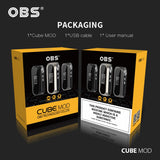 Original OBS cubemod 3000mah Built-in Battery  80w Output e-cigarette box mod - ParadiseVapors.online