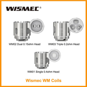 Wismec WM Coils For Reuleaux RX GEN3 And GNOME WM01 Single 0.4ohm Head/ WM02 Dual 0.15ohm Head/WM03 Triple 0.2ohm HKWH - ParadiseVapors.online