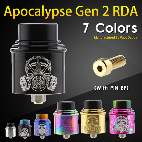 VapeDaddy Apocalypse Gen 2 RDA Atomizer 24MM BF RDA With Wide Bore Drip Tip For Electronic Cigarette Box Mech Mod VS Goon V1.5 - ParadiseVapors.online