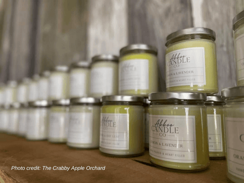 Crabby Apple Orchard display of Abboo Candles