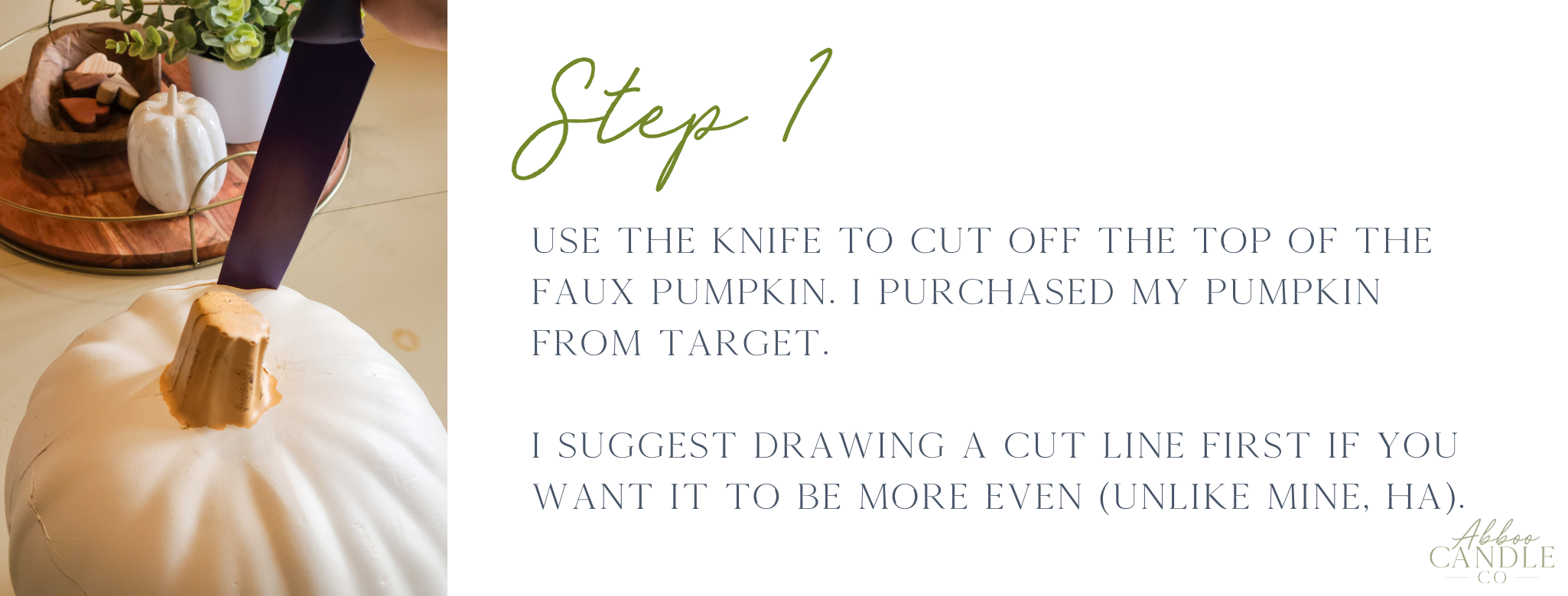 step 1 to make a pumpkin succulent by abboo candle co