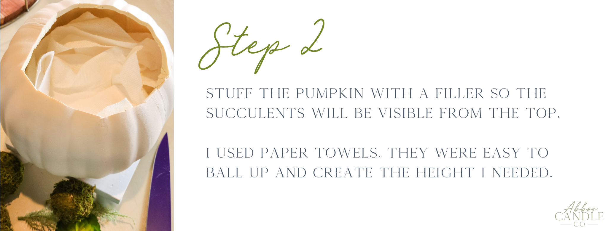 step 2 to make a pumpkin succulent by abboo candle co