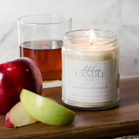 Apples & Bourbon Soy Candle by Abboo Candle Co|$15.99