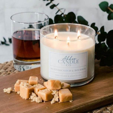 Butterscotch & Bourbon 3-Wick Soy Candle by Abboo Candle Co|$34.49