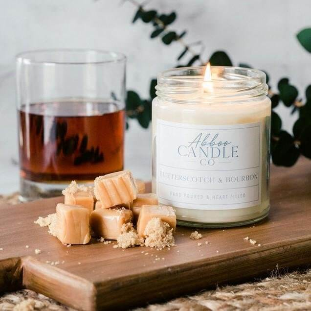 Butterscotch & Bourbon Soy Candle by Abboo Candle Co|$15.99