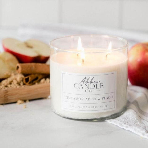 Cinnamon Apple & Peach 3-Wick Soy Candle by Abboo Candle Co|$34.49